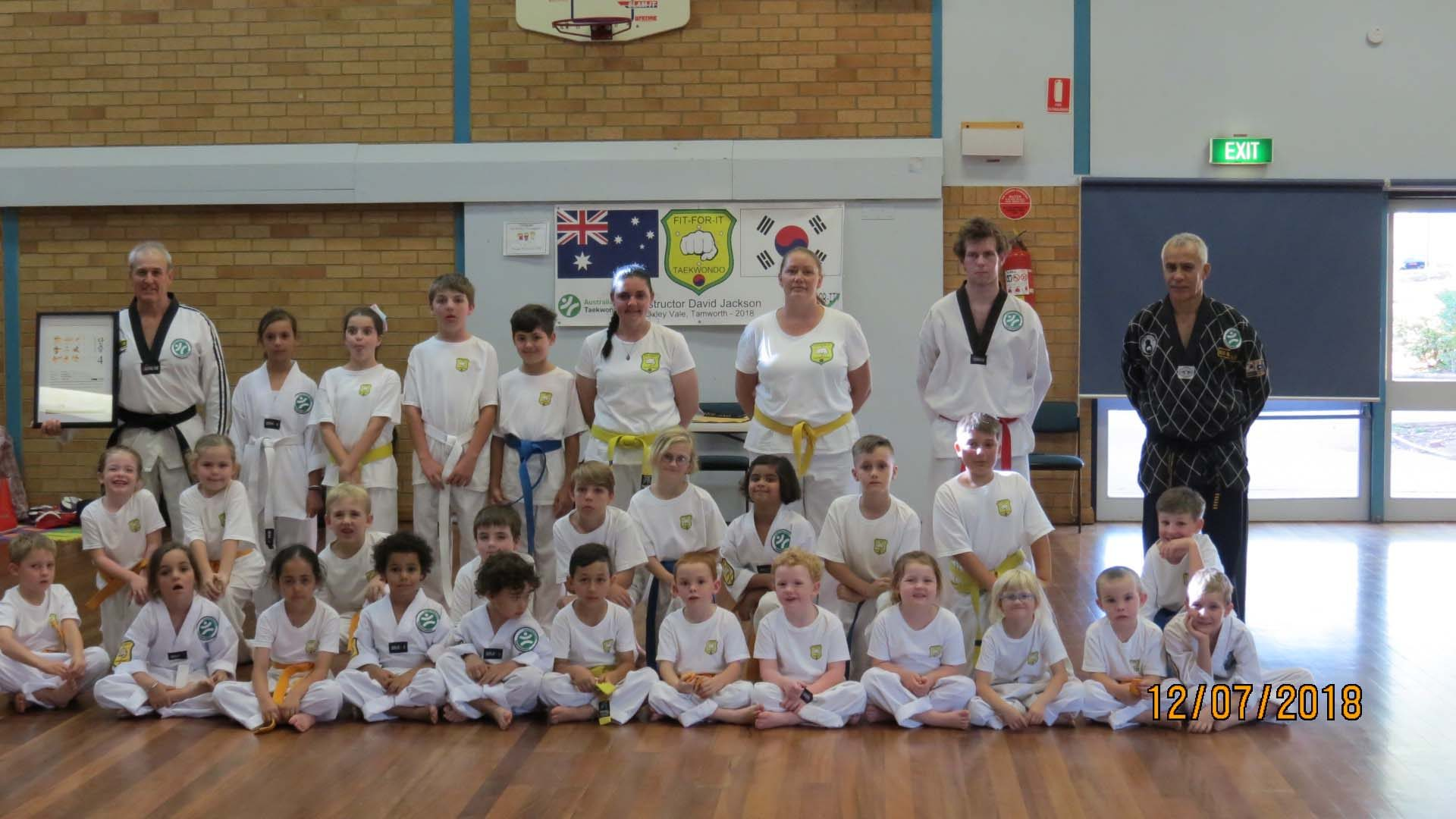 A group photo of the Tamworth Martial Arts students at the second Fit For It Taekwondo Grade Testing in Tamworth.